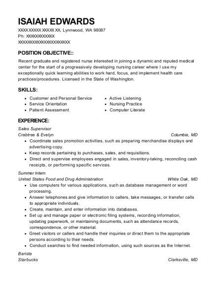 Sales Supervisor resume sample Washington