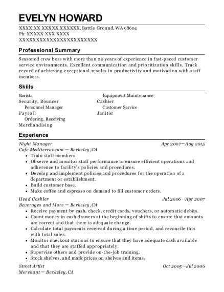 Night Manager resume sample Washington