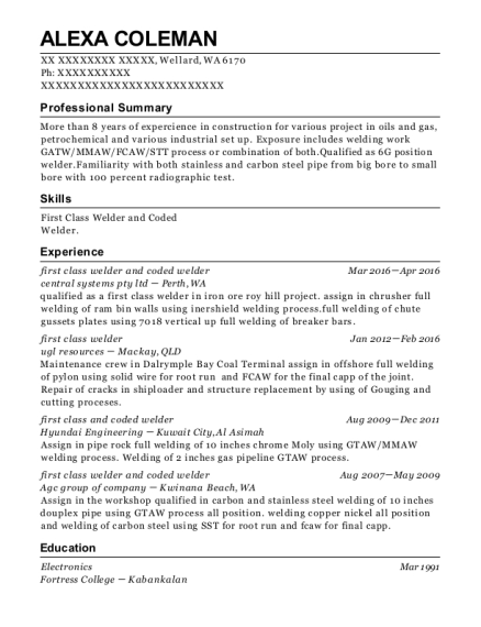 first class welder and coded welder resume sample Washington