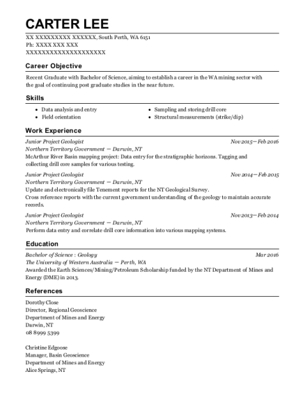 Geo Consultants Project Geologist Resume Sample