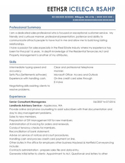 Senior Consultant resume format Washington