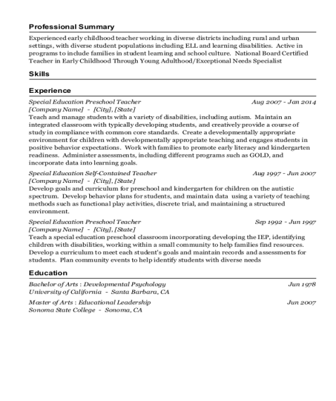 Special Education Preschool Teacher resume sample Washington