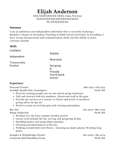 Personal Trainer resume template Washington