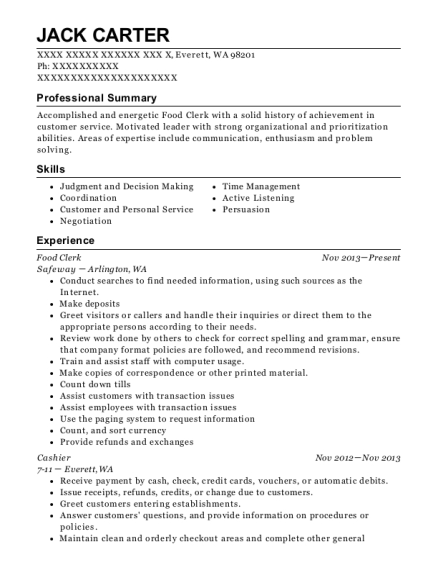 Food Clerk resume sample Washington