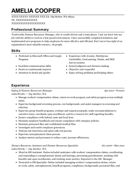 Safety & Human Resources Manager resume format Washington