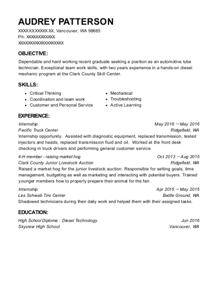 Internship resume format Washington