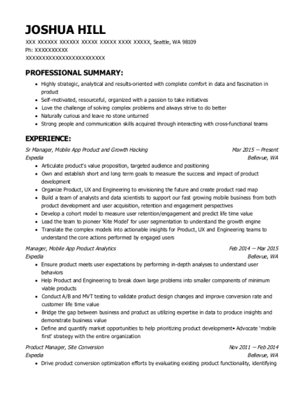 Sr Manager resume template Washington
