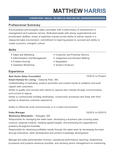 New Home Sales Consultant resume example Washington