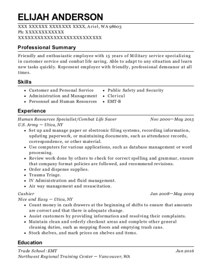 Human Resources Specialist resume format Washington