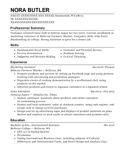 Marketing Assistant resume example Washington