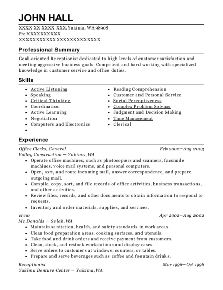 Office Clerks resume template Washington