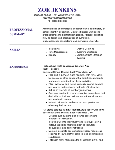 20 Best Science Teacher Resumes Resumehelp