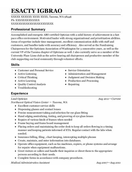 Medical Administrative Assistant resume template Washington
