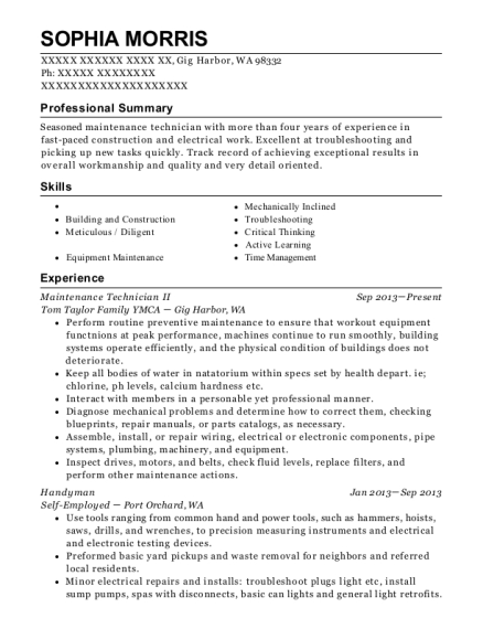 Maintenance Technician II resume template Washington