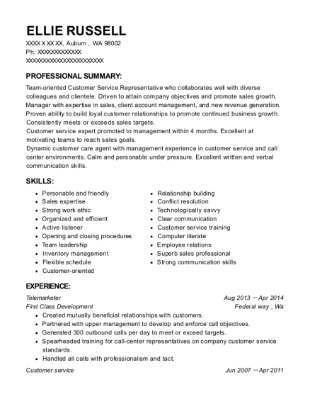 Telemarketer resume sample Washington