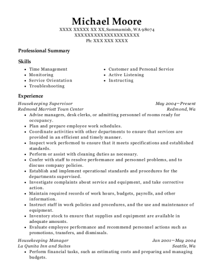 Housekeeping Supervisor resume example Washington