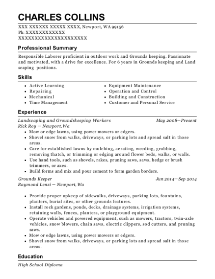 Landscaping and Groundskeeping Workers resume template Washington