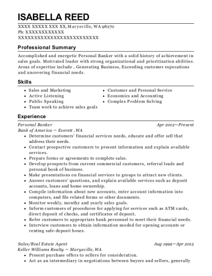 Personal Banker resume format Washington