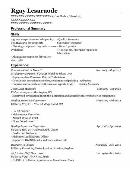 Quality Assurance Supervisor resume template Washington