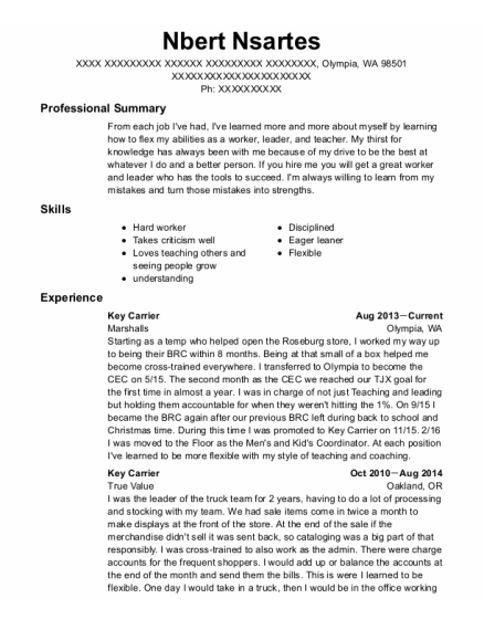 Key Carrier resume sample Washington