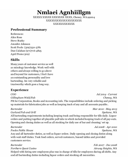 Coo resume format Washington