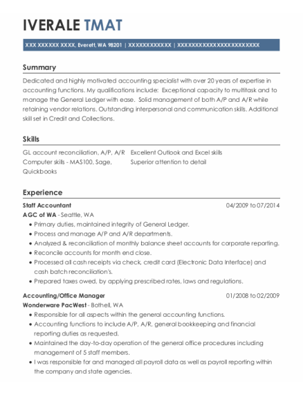 Staff Accountant resume format Washington