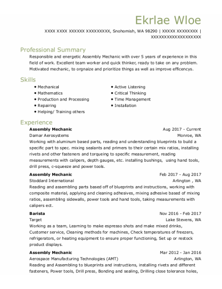 Assembly Mechanic resume template Washington