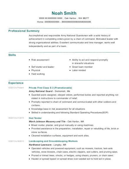 Private First Class E 3 resume template Washington