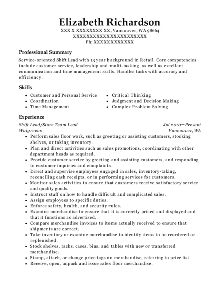 Shift Lead resume template Washington