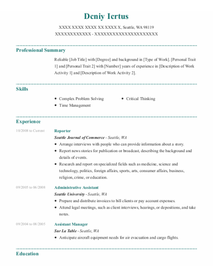 Reporter resume format Washington