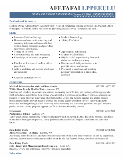 Medical Administrative Assistant resume sample Washington