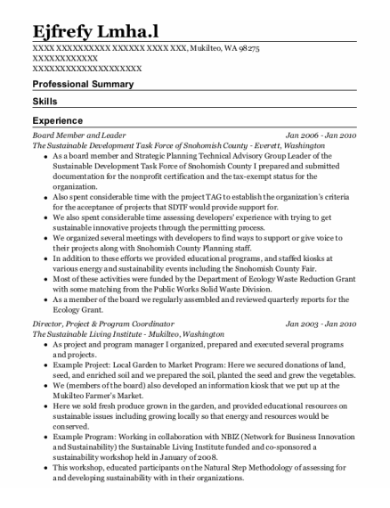 Director resume template Washington