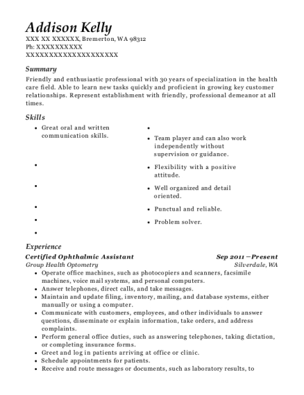 Certified Ophthalmic Assistant resume sample Washington