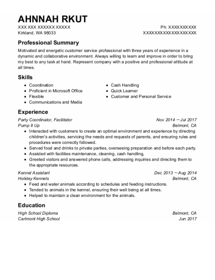 Party Coordinator resume template Washington
