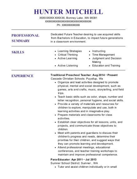 Traditional Preschool Teacher resume sample Washington