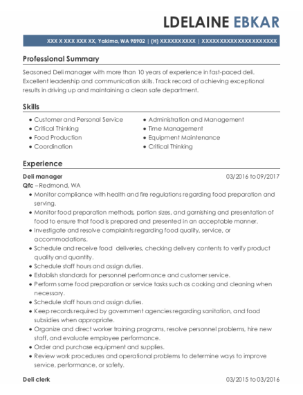giant food stores deli assistant manager resume sample