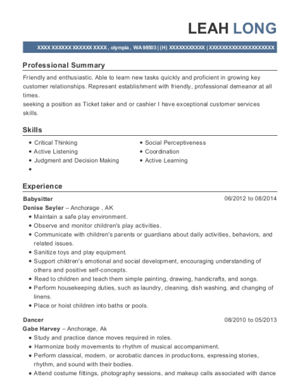 Babysitter resume example Washington