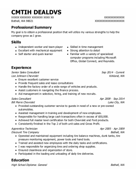 Senior Sales Consultant resume example Washington