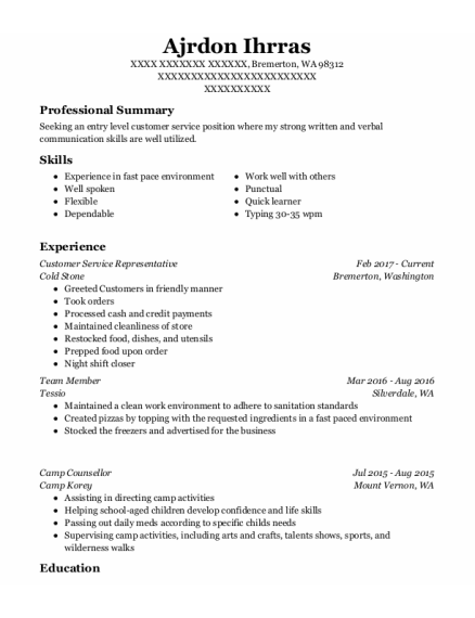 Customer Service Representative resume example Washington