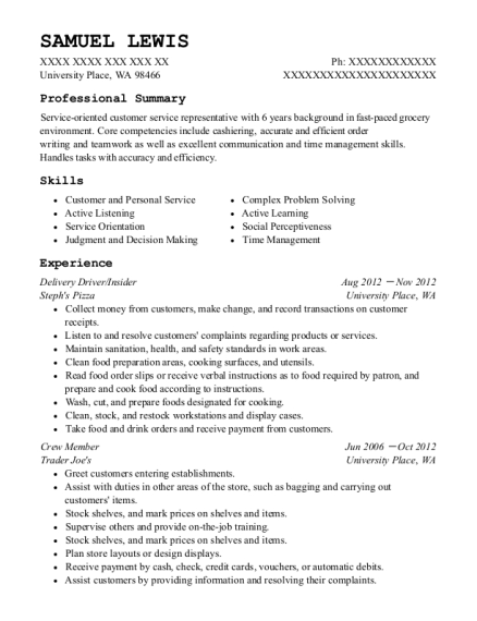 Delivery Driver resume format Washington