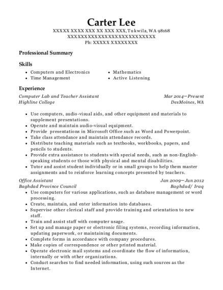 Computer Lab and Teacher Assistant resume example Washington