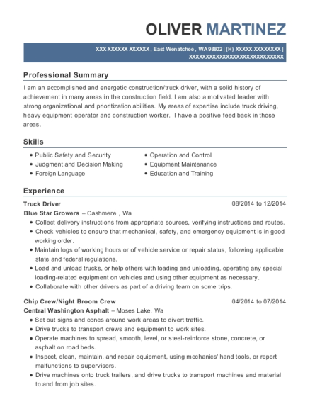 Truck Driver resume sample Washington