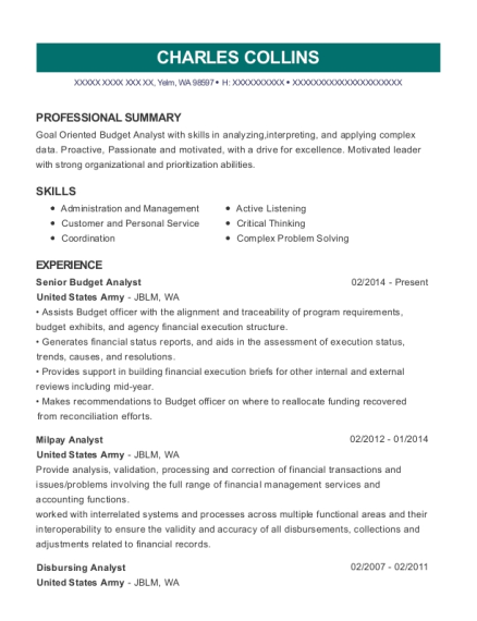 Senior Budget Analyst resume example Washington