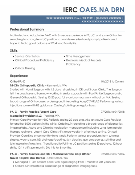 Physician Assistant Family Practice resume template Washington
