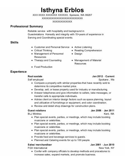 Guest Relations resume example Washington