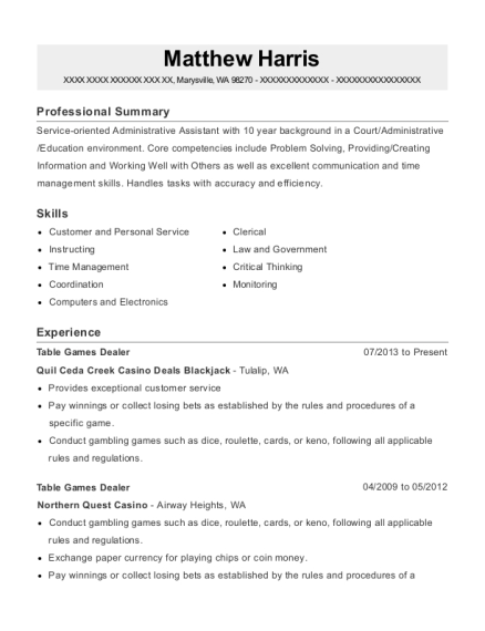 Table Games Dealer resume template Washington