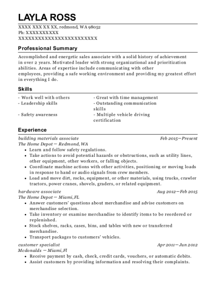 building materials associate resume example Washington