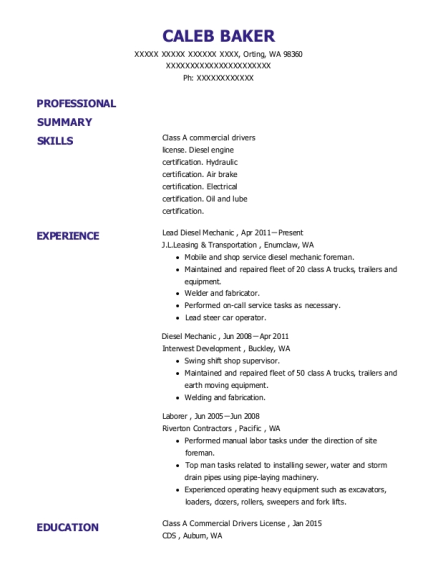 Lead Diesel Mechanic resume template Washington