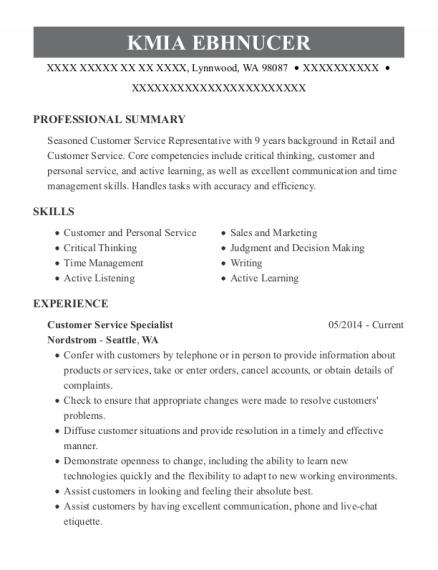 Customer Service Specialist resume template Washington