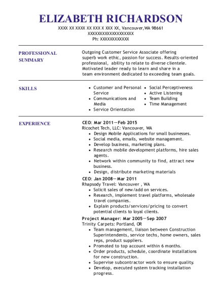 CEO resume format Washington